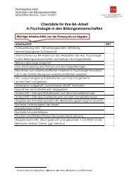 Checkliste für die Bachelor-Arbeit in Psychologie - Psychologie in ...