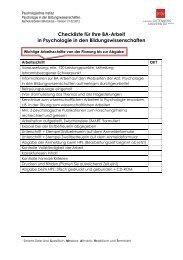 Checkliste für Ihre BA-Arbeit in Psychologie in den ...