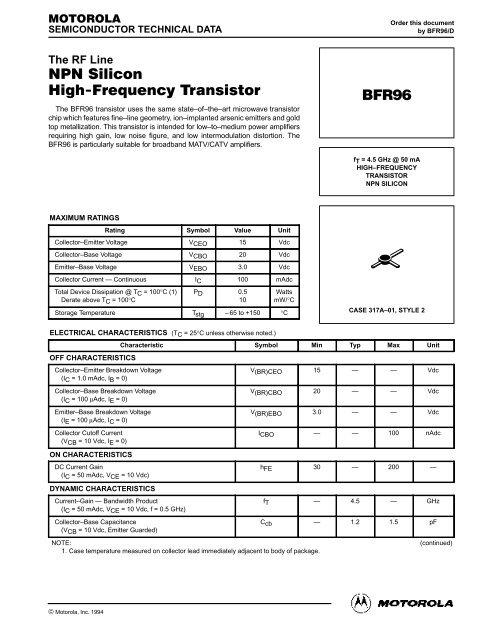 BFR96S MOTOROLA TRANSISTOR