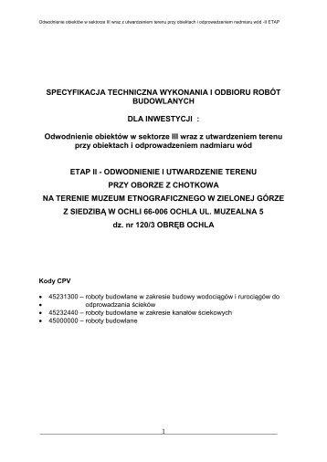 specyfikacja techniczna wykonania i odbioru robót budowlanych nr s