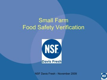 Small Farm Food Safety Verification - National Good Food Network