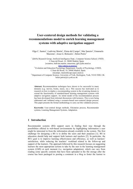 User Centered Design Methods For Validating A Adenu Uned