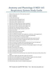 Anatomy and Physiology II MED 165 Respiratory System Study Guide