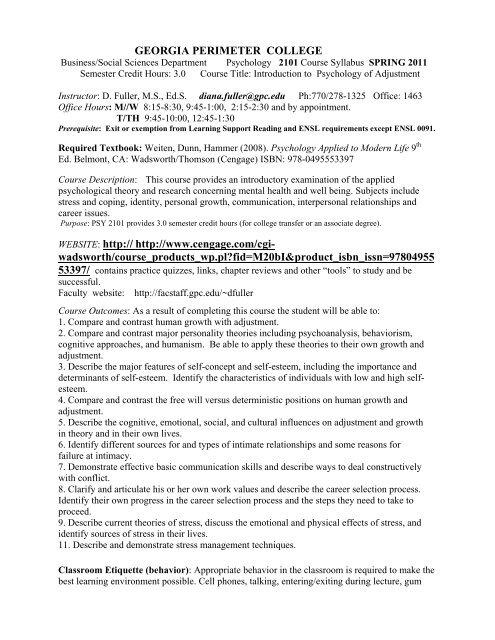 PSYC 2101 Psychology Of Adjustment 2011 Syllabus