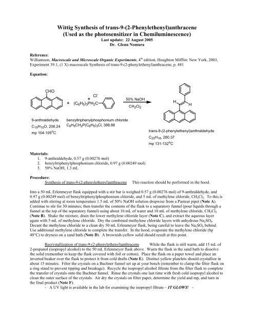 Wittig Synthesis Of Trans 9 2 Phenylethenyl