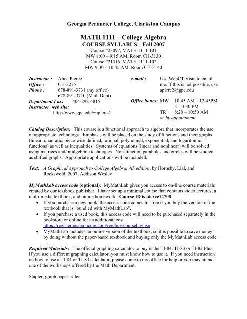 MATH 1111 – College Algebra - Faculty & Staff, Georgia