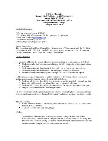 Syllabus Hist 2111 Spring 2011 Section 508.pdf - Faculty & Staff ...