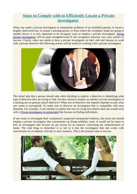 Steps to Comply with to Efficiently Locate a Private investigator
