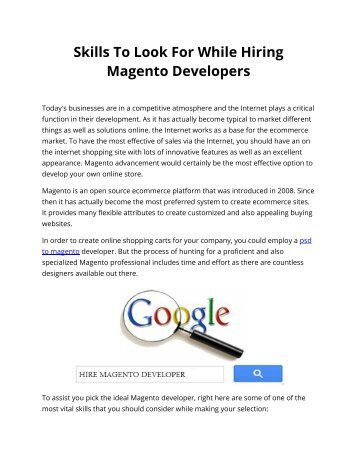 Skills To Look For While Hiring Magento Developers