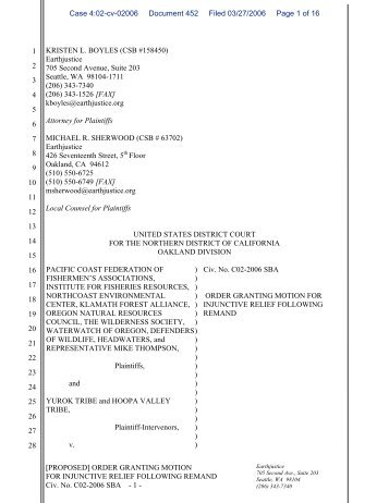 an order (3/27/06) granting injunctive relief - Schlosser Law Files