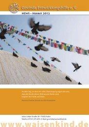 Govinda Entwicklungshilfe e.V. Newsletter - Oktober 2012