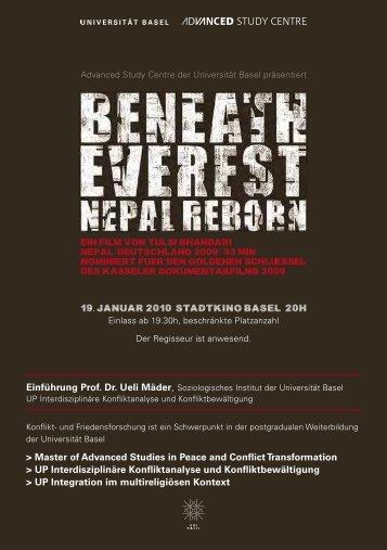"Plakat - Filmvorführung ""Beneath Everst - Nepal Reborn"""