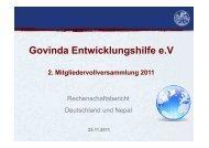 Rechenschaftsbericht Nepal - Govinda Entwicklungshilfe e.V.