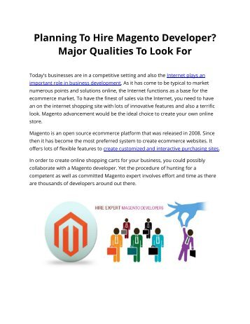 Planning To Hire Magento Developer? Major Qualities To Look For