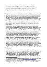 Deutscher Coaching Verband gegen Fernstudium im Bereich Coach