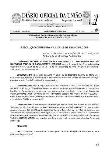 RESOLUÇÃO CONJUNTA Nº 1, DE 18 DE JUNHO DE 2009 - Mds