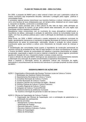 PLANO DE TRABALHO 2009 – ÁREA CULTURAL Em ... - AMAVI
