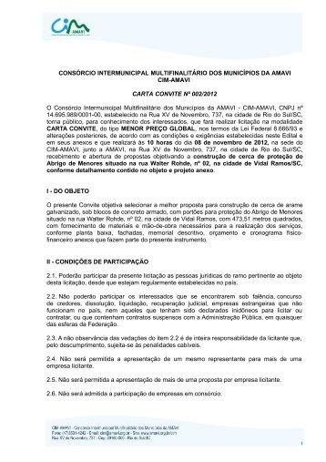 Carta Convite nº002/2012 - Amavi