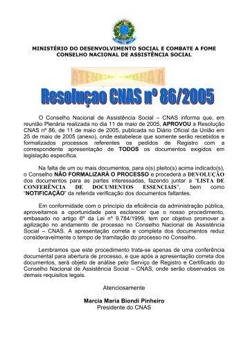 CNAS Resolução 86/2005 - AMAVI