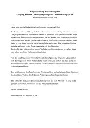 """Personal Coaching/Psychologische Lebensberatung"" (PCoa)"