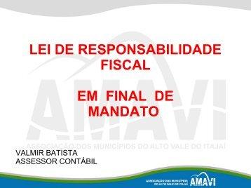 lei de responsabilidade fiscal em final de mandato - AMAVI