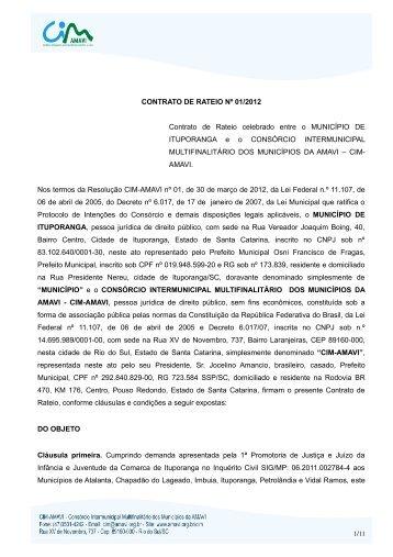 CONTRATO DE RATEIO Nº 01/2012 - Amavi