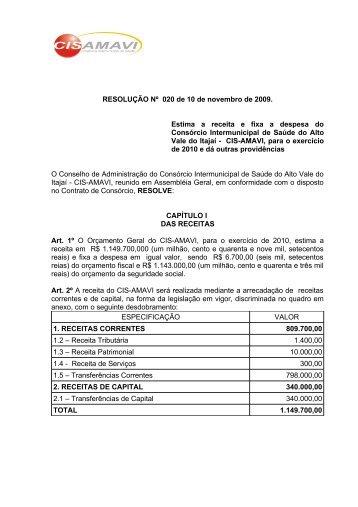 Orçamento 2010 - AMAVI