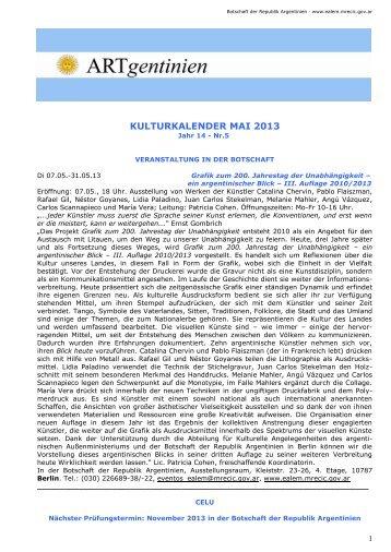 Kulturkalender Mai 2013 - Embajada de la República Argentina en ...