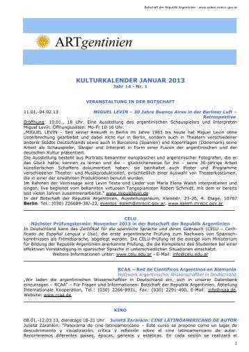 Kulturkalender Januar 2013 - Embajada de la República Argentina ...