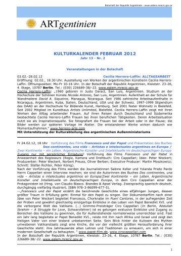 Kulturkalender Februar 2012 - Embajada de la República Argentina ...