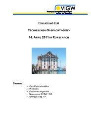 einladung zur technischen gasfachtagung 14. april 2011 in ... - VIGW