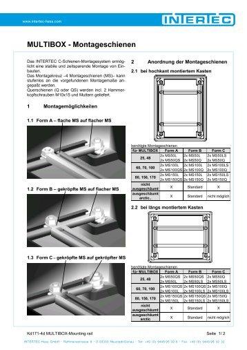 MULTIBOX - Montageschienen