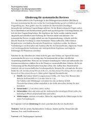Gliederung für systematische Reviews - Psychologie in den ...