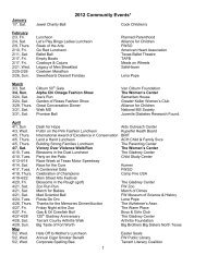 2012 Community Events* - The Women's Center of Tarrant County