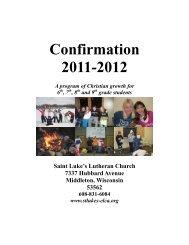 Confirmation Registration Packet - St Luke's Lutheran Church
