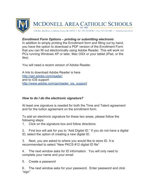 Enrollment Form Options – printing or submitting