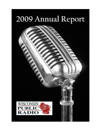 2009 Annual Report - Wisconsin Public Radio Association