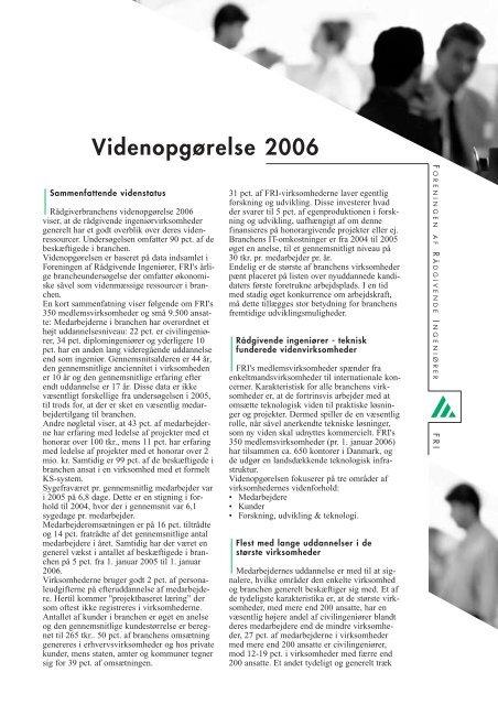 Videnopgørelse 2006 - Foreningen af Rådgivende Ingeniører F.R.I.