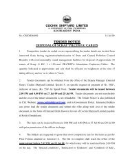 cochin shipyard limited tender notice disposal of scrap 'pilcdsta' cables