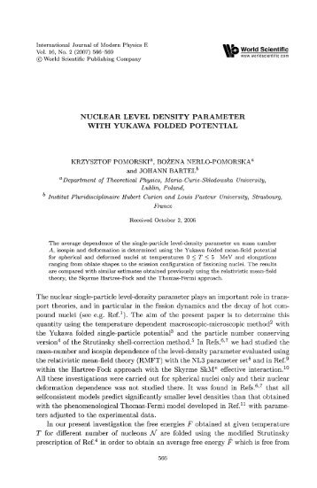 nuclear level density parameter - Department of Theoretical Physics ...