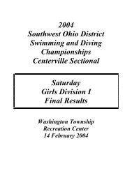 2004 Southwest Ohio District Swimming and ... - Swimmeet.com