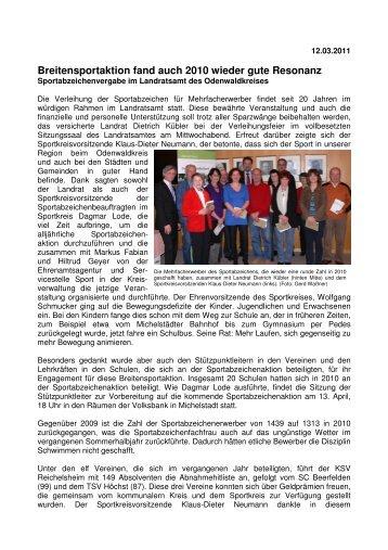 2011-03-12 Sportabzeichen-Verleihung 2011 - Sportkreis Odenwald