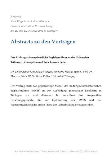 """Abstracts zu den Vorträgen - """"Lehrer bilden"""" - Phasendurchlässige ..."""