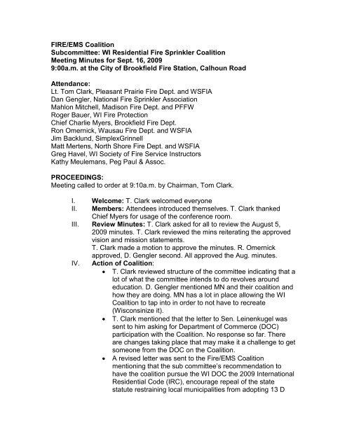 Meeting Minutes 9-16-09 - Wisconsin Fire Inspectors Association