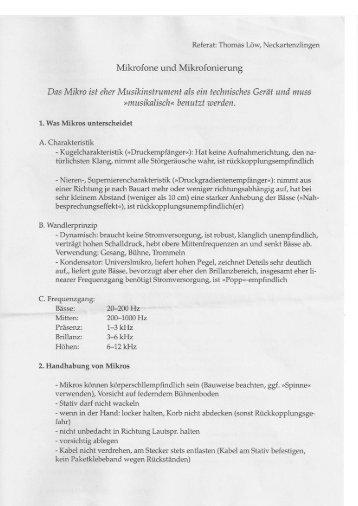 Mikrofone und Mikrofonierung Das Mikro ist eher ... - Schulmusiker.info