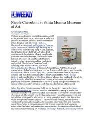 Nicole Cherubini at Santa Monica Museum of Art - Tracy Williams, Ltd.