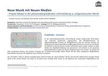 Neue Musik mit Neuen Medien - Schulmusiker.info
