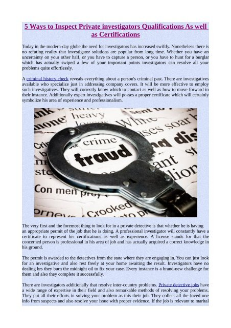 5 Ways to Inspect Private investigators Qualifications As well as Certifications