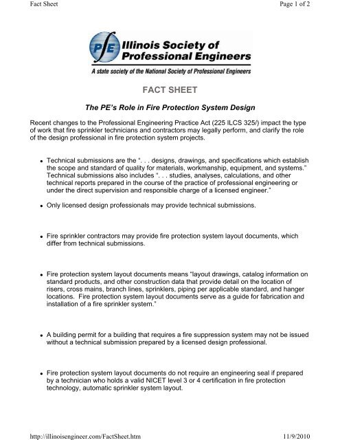 The Pe S Role In Fire Protection System Design Fact Sheet