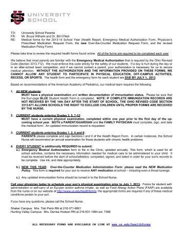 physician's prescribed medication request form - University School